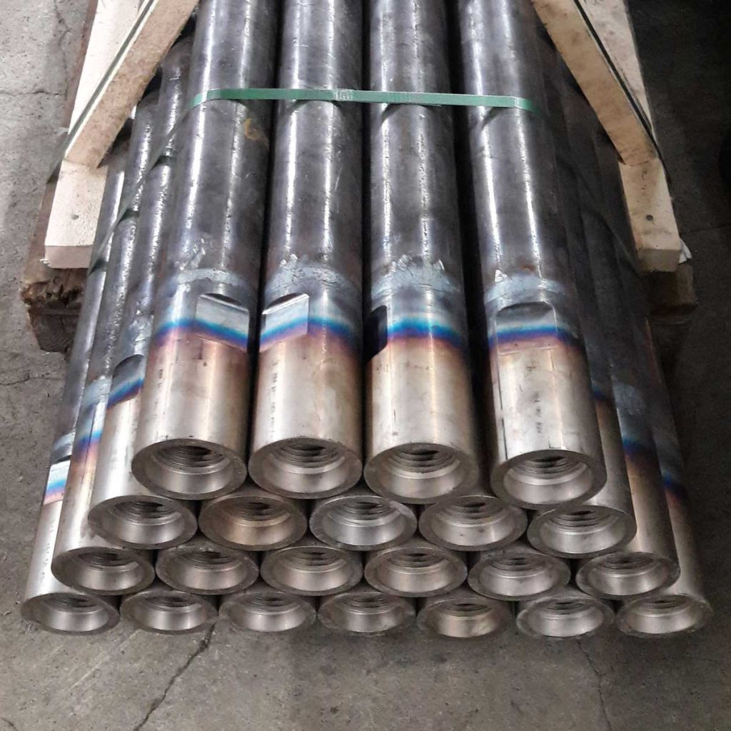Rotary drill pipes packed on a pallet for shipping